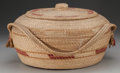 American Indian Art:Baskets, AN ALASKAN ESKIMO COILED BASKET WITH LID AND HANDLE...