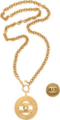 "Luxury Accessories:Accessories, Chanel Set of Two; Gold Necklace with CC Pendant & Gold CC LogoBrooch . Very Good Condition . 16"" Length and 1.5"" Wid...(Total: 2 Items)"