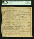 Colonial Notes:Continental Congress Issues, Continental Loan Office Bill of Exchange Uncut Pair Maryland $18 May 11, 1781 Anderson 95-4A PCGS Apparent Choice About New 58...