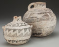 American Indian Art:Pottery, TWO ANASAZI BLACK-ON-WHITE POTTERY VESSELS. c. 1100 - 1200 AD...(Total: 2 Items)