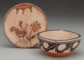 American Indian Art:Pottery, TWO SANTO DOMINGO POLYCHROME POTTERY ITEMS... (Total: 2 Items)