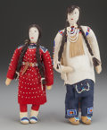 American Indian Art, A PAIR OF CROW BEADED HIDE DOLLS. c. 1950... (Total: 2 Items)