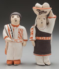 American Indian Art:Pottery, A PAIR OF ISLETA POLYCHROME FIGURES. Stella Teller. ... (Total: 3 )