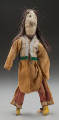 American Indian Art:Beadwork and Quillwork, A SOUTHERN PLAINS BEADED HIDE MALE DOLL. c. 1900...