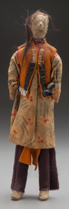 American Indian Art:Beadwork and Quillwork, A SOUTHERN PLAINS BEADED HIDE MALE DOLL...