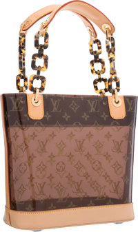 "Louis Vuitton Classic Monogram Vinyl Ambre Cruise Cabas PM Tote Bag Excellent Condition 10.5"" Wid"