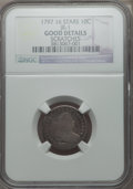 Early Dimes, 1797 10C 16 Stars, JR-1, R.4 -- Scratches -- NGC Details. Good....