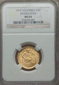 Colombia, Colombia: Republic gold 5 Pesos 1919 MS64 NGC,...