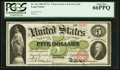 Large Size:Legal Tender Notes, Fr. 61c $5 1862 Legal Tender PCGS Gem New 66PPQ.. ...