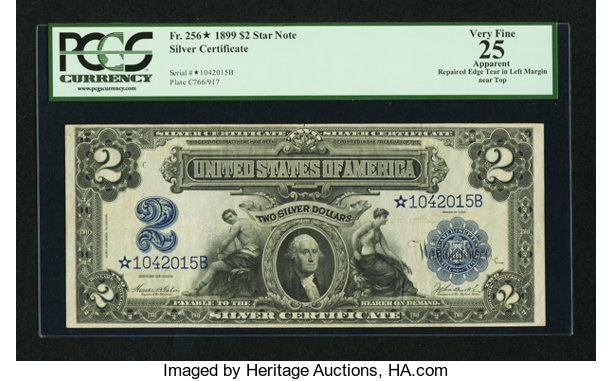 Fr. 256* $2 1899 Silver Certificate Star PCGS Apparent Very | Lot ...