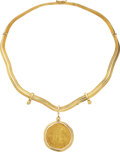 Estate Jewelry:Necklaces, Escudo Gold Coin, Gold Necklace. ...