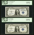 Small Size:Silver Certificates, Reverse Changeover Pair Fr. 1607/1607 $1 1935 Mule/1935 Non-Mule Silver Certificates. PCGS Very Choice New 64PPQ.. ... (Total: 2 notes)
