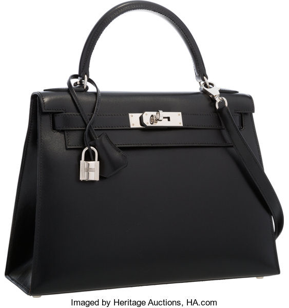 ... Luxury Accessories Bags, Hermes 28cm Black Calf Box Leather Sellier  Kelly Bag with PalladiumHardware ... 1b4d0aa201