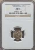 Chile, Chile: Republic 10 Centavos 1908-So MS65 NGC,...