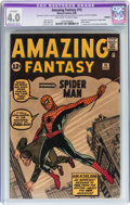 Silver Age (1956-1969):Superhero, Amazing Fantasy #15 (Marvel, 1962) CGC Apparent VG 4.0 Moderate(B-3) Off-white to white pages....