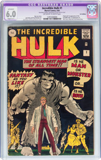 The Incredible Hulk #1 UK Edition (Marvel, 1962) CGC Apparent FN 6.0 Slight (C-1) Off-white to white pages