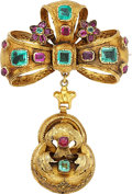 Estate Jewelry:Brooches - Pins, Antique Emerald, Ruby, Gold Brooch. ...