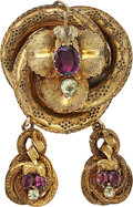 Estate Jewelry:Brooches - Pins, Victorian Garnet, Feldspar, Gold Brooch. ...