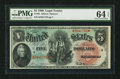 Large Size:Legal Tender Notes, Fr. 64 $5 1869 Legal Tender PMG Choice Uncirculated 64 EPQ.. ...
