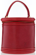 """Luxury Accessories:Accessories, Louis Vuitton Red Epi Leather Cannes Bag. Very GoodCondition . 7.5"""" Width x 7.5"""" Height x 7.5"""" Depth, 4"""" HandleDrop..."""