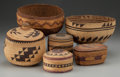 American Indian Art:Baskets, SIX WEST COAST TWINED BASKETRY ITEMS. ... (Total: 6 Items)
