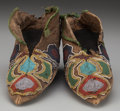 American Indian Art:Beadwork and Quillwork, A PAIR OF CHEROKEE BEADED HIDE MOCCASINS. c. 1830... (Total: 2Items)