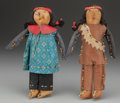 American Indian Art:Beadwork and Quillwork, A PAIR OF GREAT LAKES BEADED LEATHER DOLLS... (Total: 2 Items)