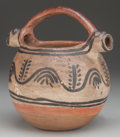 American Indian Art:Pottery, A TESUQUE POLYCHROME DOUBLE-SPOUTED EFFIGY PITCHER. c. 1890...