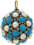 Estate Jewelry:Pendants and Lockets, Turquoise, Cultured Pearl, Gold Pendant. ...
