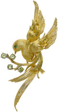 Estate Jewelry:Brooches - Pins, Emerald, Garnet, Gold Brooch. ...