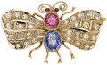 Estate Jewelry:Brooches - Pins, Multi-Stone, Diamond, Gold Brooch. ...