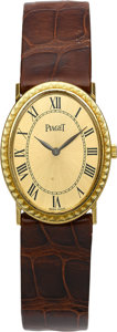 Estate Jewelry:Watches, Piaget Lady's Gold, Leather Strap Wristwatch. ...