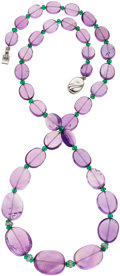 Estate Jewelry:Necklaces, Amethyst, Emerald, Diamond, White Gold Necklace. ...