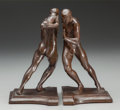 Sculpture, HARRIET WHITNEY FRISHMUTH (American, 1880-1980). Pushing Men Bookends (two pieces), 1912. Bronze with brown patina, each... (Total: 2 Items)