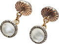 Estate Jewelry:Cufflinks, Cat's-Eye Moonstone, Diamond, Gold, Silver Cuff Links, Fabergé. ...
