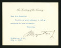 Miscellaneous:Other, Notecard Signed by Henry Morgenthau, Jr. . ...
