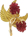 Estate Jewelry:Brooches - Pins, Pink Tourmaline, Gold Brooch, Tiffany & Co.. ...