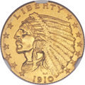 Proof Indian Quarter Eagles, 1910 $2 1/2 PR67+ NGC. CAC....