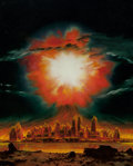 Paintings, CHESLEY BONESTELL (American, 1888-1986). Destruction of an American city by a Hydrogen Bomb, Look magazine interior story ... (Total: 2 Items)