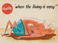 "Mainstream Illustration, AMERICAN ARTIST (20th Century). ""When the living is easy,""Coca-Cola advertisement. Colored pencil and gouache on paper..."
