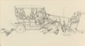 Mainstream Illustration, NORMAN ROCKWELL (American, 1894-1978). Ford Holiday GreetingCard, preliminary illustration, 1949. Pencil on board. 9.75...