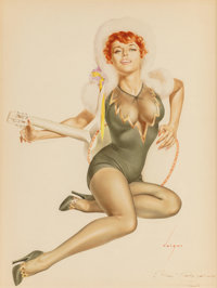 ALBERTO VARGAS (American, 1896-1982) Red-headed Pin-Up with Guitar Watercolor and pencil on paper