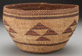 American Indian Art:Baskets, A YUROK POLYCHROME TWINED BOWL...