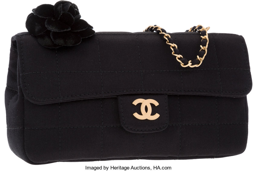 2247f76f8b25 ... Luxury Accessories:Bags, Chanel Black Satin Mini Flap Bag with Camellia  Flower & ...