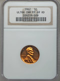 Proof Lincoln Cents, 1962 1C PR69 Red Ultra Cameo NGC. NGC Census: (39/0). PCGS Population (35/0). Numismedia Wsl. Price for problem free NGC/P...