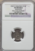 Seated Half Dimes, 1840-O H10C Drapery -- Whizzed -- NGC Details. AU. Ex: Hilt Collection. NGC Census: (1/20). PCGS Population (8/11). Mintag...