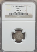 Early Half Dimes, 1797 H10C 15 Stars, V-2, LM-1, R.3, Fair 2 NGC. NGC Census: (1/32).PCGS Population (0/3). Mintage: 44,527. ...