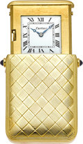 Estate Jewelry:Other , Art Deco Cartier Gold Travel Clock by European Watch & ClockCo.. ...
