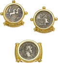 Estate Jewelry:Earrings, Ancient Roman Silver Coin, Gold Jewelry Suite. ... (Total: 2 Items)