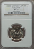 Statehood Quarters: , 2004-D 25C Wisconsin Extra Leaf Low MS67 NGC. NGC Census: (1/0).PCGS Population (3/0). Numismedia Wsl. Price for problem ...